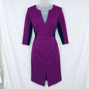 Black Halo Purple & Black Mesh Sleeve Dress
